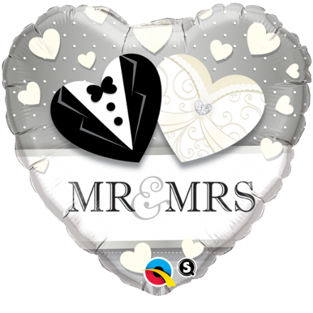 Mr & Mrs Wedding Day Foil Helium Balloon